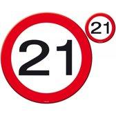 21 Jaar Verkeersbord Placemat en Onderzetter Set - 4x