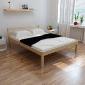 vidaXL Bed met traagschuim matras massief grenenhout 140x200 cm