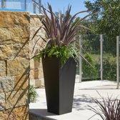 Eén Uitlopende Vierkante Plantenbak van Staalgrijs Gegalvaniseerd Zink - Groot