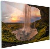 Waterval in IJsland Glas 90x60 cm - Foto print op Glas (Plexiglas wanddecoratie)