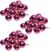 30x Mini glazen kerstballen kerststekers/instekertjes fuchsia roze 2 cm - Fuchsia roze kerststukjes kerstversieringen glas