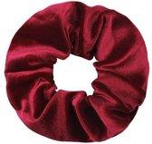 Velvet scrunchie/haarwokkel, bordeaux/rood
