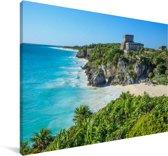 Azuurblauw water naast de stranden van Tulum in Mexico Canvas 120x80 cm - Foto print op Canvas schilderij (Wanddecoratie woonkamer / slaapkamer)