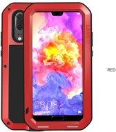 Metalen fullbody hoes voor Huawei P20, Love Mei, metalen extreme protection case, zwart-rood