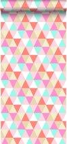 HD vliesbehang driehoekjes roze, turquoise en koraal - 138714 van ESTAhome  nl