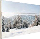 FotoCadeau.nl - Besneeuwd landschap in Duitsland Hout 120x80 cm - Foto print op Hout (Wanddecoratie)