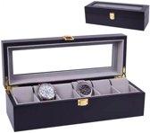 Horlogedoos - Luxe Houten Horloge Box - Geschikt voor Horloges en Sieraden - 6 Compartimenten met 6 Kussentjes - Zwart