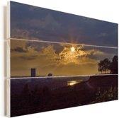 Zonsondergang met uitzicht op de rivier de Rijn en de stad Bonn in Duitsland Vurenhout met planken 90x60 cm - Foto print op Hout (Wanddecoratie)