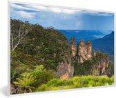 Foto in lijst - Uitzicht over Nationaal park Blue Mountains in Australië fotolijst wit 60x40 cm - Poster in lijst (Wanddecoratie woonkamer / slaapkamer)