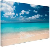Tropische zee en strand Canvas 60x40 cm - Foto print op Canvas schilderij (Wanddecoratie woonkamer / slaapkamer) / Zee en Strand