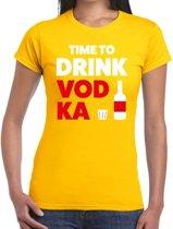 Time to drink Vodka tekst t-shirt geel dames - dames shirt Time to drink Vodka 2XL