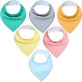 JillyBee - Slab - Slabbetje - Slabber - Bandana - 6pack - Gekleurd - Gemengd - Roze - Geel - Groen - Blauw - Grijs