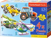 Various Vehicles puzzel 4-in-1