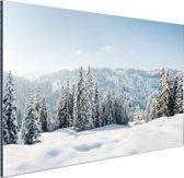 Besneeuwd landschap in Duitsland Aluminium 90x60 cm - Foto print op Aluminium (metaal wanddecoratie)