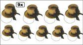 9x Midi hoge hoed glitter + deco goud