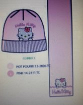 Hello Kiity muts  en sjaal roze mt 54