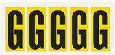 Letter stickers geel/zwart teksthoogte: 75 mm