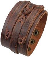 Brede Lederen Armband – Stiched - Mannen Armband - Scratch Brown