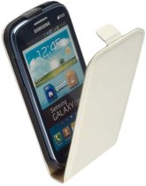 LELYCASE Flip Case Lederen Hoesje Samsung Galaxy Core Wit