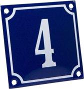 Emaille huisnummer blauw/wit nr. 4 10x10cm