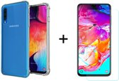 Samsung Galaxy A50 Siliconen Hoesje - 1 x Tempered Glass Screenprotector - Extra Stevige Randen - Shock Proof Case - Transparant - LuxeRoyal
