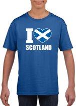 Blauw I love Schotland supporter shirt kinderen - Schots shirt jongens en meisjes XL (158-164)