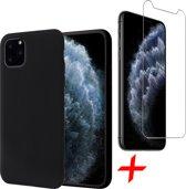 iPhone 11 Pro Max Hoesje + Screenprotector Case Friendly - Liquid Soft Siliconen Case - iCall - Zwart