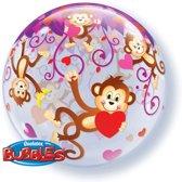 Bubbles Ballon Aapje met Hartjes 56cm
