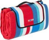 relaxdays Picknickkleed waterdicht - 200x200 - fleecedeken - outdoor kleed - rood-blauw