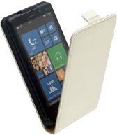 LELYCASE Lederen Flip Case Cover Hoesje Nokia Lumia 820 Wit
