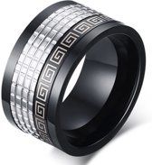 Mendes herenring Spinner Black Zilverkleurig-21mm