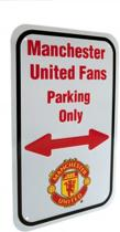 Manchester United - Plaat - Fans Parking Only - Wit/Rood - 17 x 27 cm