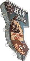 Signs-USA - Light up! Dubbelzijdig Man Cave vintage marquee uithangbord met bulb lampen - 32 x 8 x 55 cm