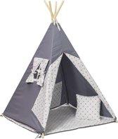 Wigwam tipi teepee tent - speeltent - 4 delig - 100% katoen - grijs en roze sterren