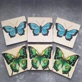 Onderzetters Vlinder blauw/groen. Set van 6. 10 x 10 cm.