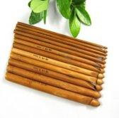 12 Bamboe haaknaalden in verschillende maten | set van 12