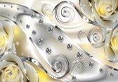 Fotobehang Yellow Floral Diamond Abstract Modern | M - 104cm x 70.5cm | 130g/m2 Vlies