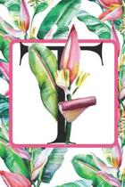 T: Initial A Monogram Notebook Journal Gift for Tropical Flower Lovers