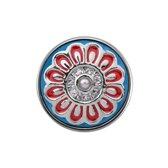 Quiges - Dames Click Button Drukknoop 18mm Bloem Blauw met Rood en Faux Parel - EBCM280