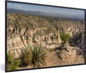 Foto in lijst - Struikgewas op de steile rotsen van het Nationaal park Sante Fe in Panama fotolijst zwart 60x40 cm - Poster in lijst (Wanddecoratie woonkamer / slaapkamer)