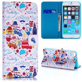 Hoesje geschikt voor Apple iPhone 6 Plus en iPhone 6S Plus, 3-in-1 bookcase met print, Londen