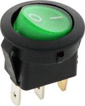 Schakelaar - groen - 12 volt - 35A - verlicht rond - 3 pins