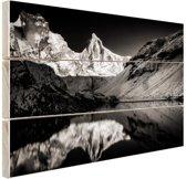 Kedartal  zwart-wit Hout 30x20 cm - klein - Foto print op Hout (Wanddecoratie)