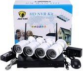 HD NVR Kit Beveiligingscamera Plug en Play camerasysteem 1,3 MP - 8 camera's WIT