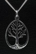 Zilveren Levensboom ketting hanger - ovaal