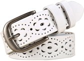 Women Genuine Leather Belt Floral Carved Cow Skin Belts for Jeans  Belt Length:115cm(White)