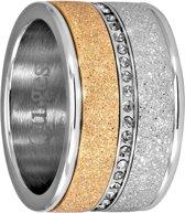 Quiges Stapelring Ring Set  - Dames - RVS zilverkleurig met roségoudkleurig - Maat 18 - Hoogte 10mm
