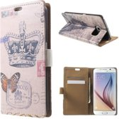 Crown Butterfly wallet case Samsung Galaxy S6 Edge