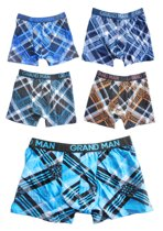 5X Boxershort - Maat M - Grand man - Ruitpatroon in diverse kleuren