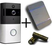 Draadloze WiFi Video Deurbel Pro   Inclusief binnenbel   iOS/Android app   Inclusief batterijen, 8GB SD-Kaart en oplaadsnoer- Gratis live en terugkijken! - HD Camera